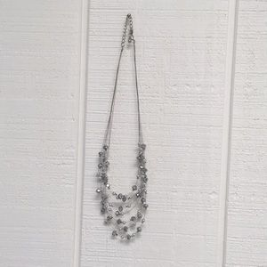 White House black market grey and silver necklace